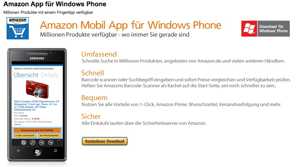 Keine Amazon- und Skype-App mehr für Windows Phone